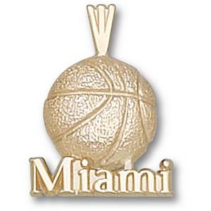 Miami Hurricanes 5/8in 10k Basketball Pendant