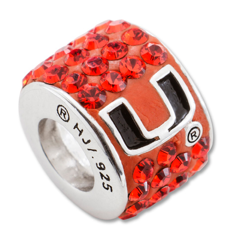University of Miami Florida Premier Crystal Bead