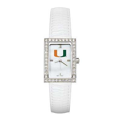 University of Miami Ladies' Allure White Leather Watch