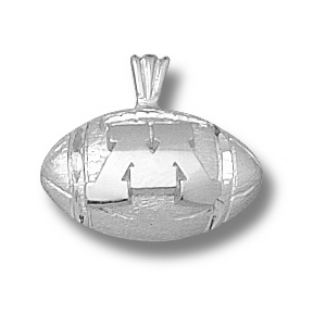 Minnesota Gophers 7/16in Sterling Silver Football Pendant