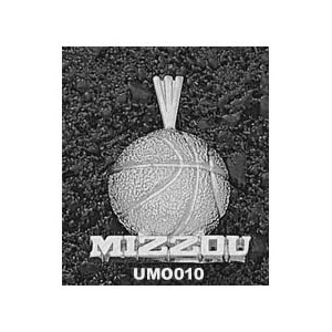 Missouri Tigers 5/8in Sterling Silver Basketball Pendant