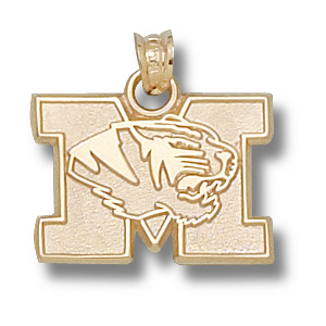 14kt Yellow Gold 1/2in Missouri Tigers M Head Pendant