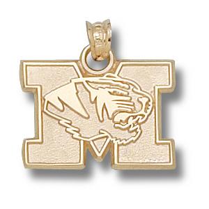 10kt Yellow Gold 1/2in Missouri Tigers M Head Pendant