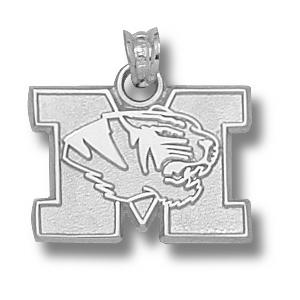 Sterling Silver 1/2in Missouri Tigers M Head Pendant
