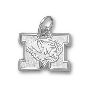 Sterling Silver 3/8in Missouri Tigers Head Charm