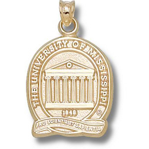14kt Gold 3/4in University of Mississippi Seal Pendant