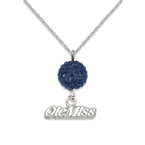 Sterling Silver University of Mississippi Crystal Ovation Necklace