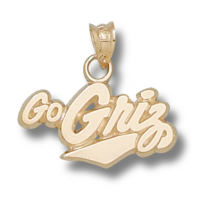 14kt Yellow Gold 3/8in University of Montana Go Griz Charm