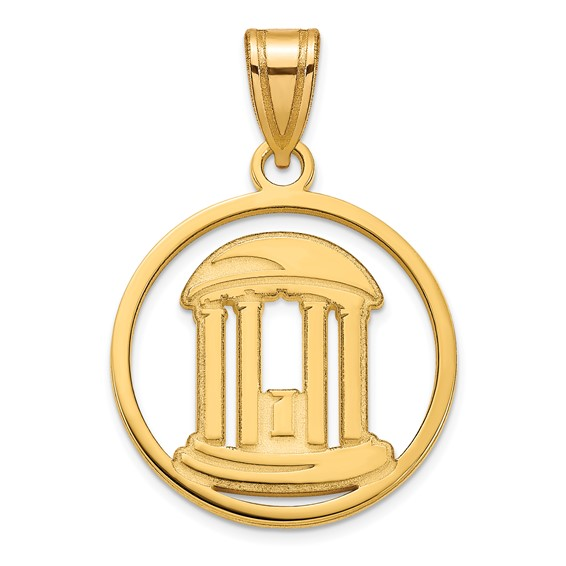 10kt Yellow Gold 3/4in Univ of North Carolina Old Well Pendant
