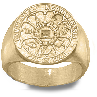 U of Nebraska Men's Seal Ring - 14k Gold