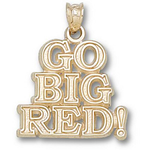 10kt Yellow Gold 5/8in Nebraska Go Big Red Pendant