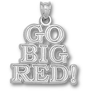 Sterling Silver 5/8in Nebraska Go Big Red Pendant