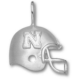 U of Nebraska 3/4in Sterling Silver N Helmet Pendant