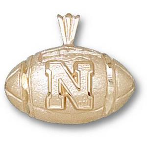 U of Nebraska 1/2in 14k Football Pendant
