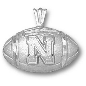 Sterling Silver 1/2in University of Nebraska Football Pendant