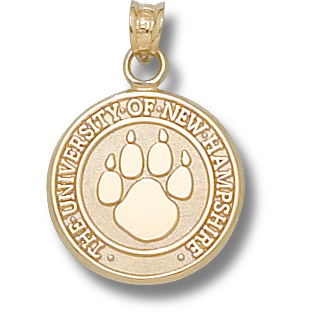 10kt Yellow Gold 5/8in Univ of New Hampshire Paw Seal Charm