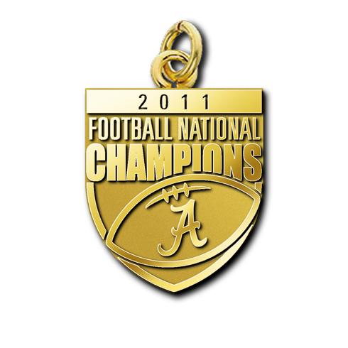 2011 University of Alabama National Champs 10kt Yellow Gold Charm