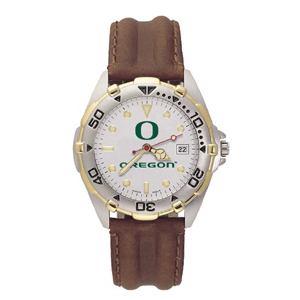 University of Oregon Mens All Star Leather Watch
