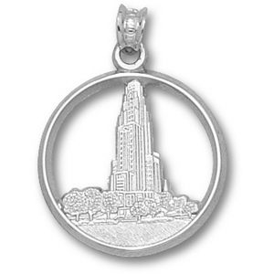 Pittsburgh Panthers 3/4in Sterling Silver Cathedral Pendant