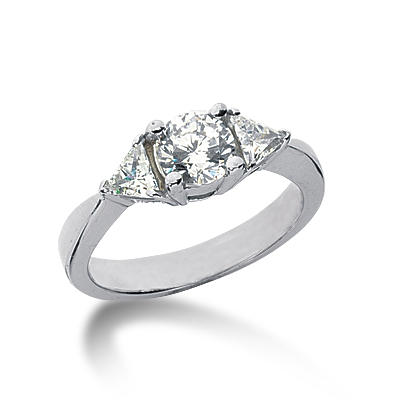 1.25 ct tw Round and Trillion 3-Stone Moissanite Ring
