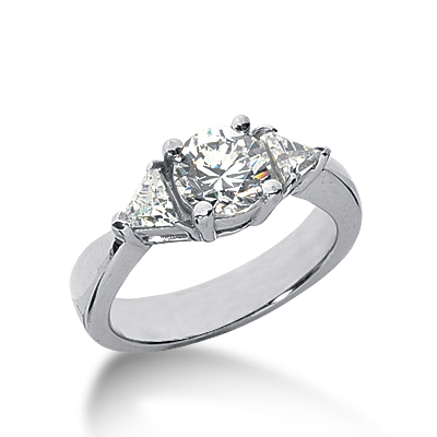 1.7 ct tw Round and Trillion 3-Stone Moissanite Ring