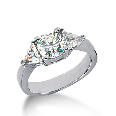 1.9 ct tw Round and Trillion 3-Stone Moissanite Ring
