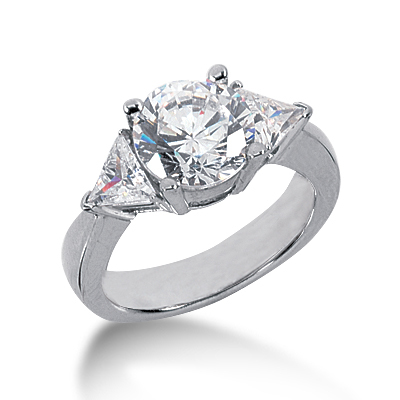 2.7 ct tw Round and Trillion 3-Stone Moissanite Ring