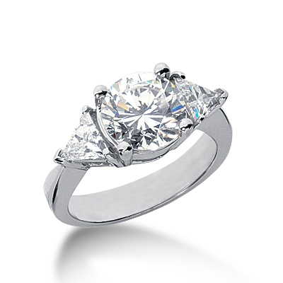 3.25 ct tw Round and Trillion 3-Stone Moissanite Ring