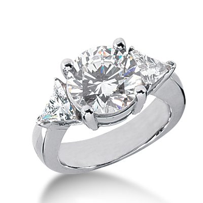 14kt White Gold 4.75 ct tw Round and Trillion 3-Stone Moissanite Ring