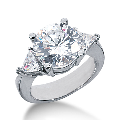 5.25 ct tw Round and Trillion 3-Stone Moissanite Ring