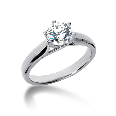 1 ct Six-Prong Trellis Moissanite Solitaire Ring