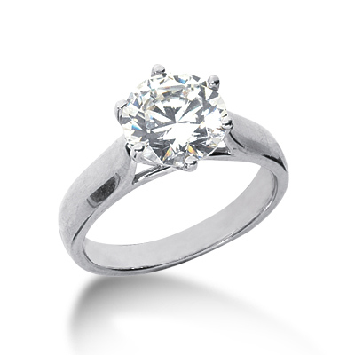 2 ct Six-Prong Trellis Moissanite Solitaire Ring