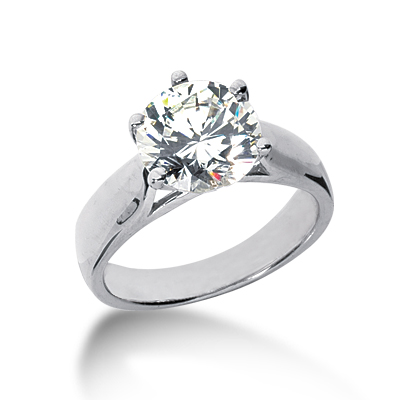 2 1/2 ct Six-Prong Trellis Moissanite Solitaire Ring
