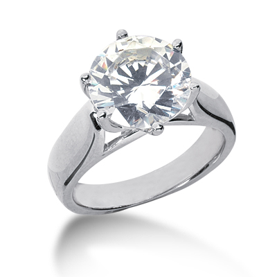 4 ct FOREVER ONE Six-Prong Trellis Moissanite Solitaire Ring