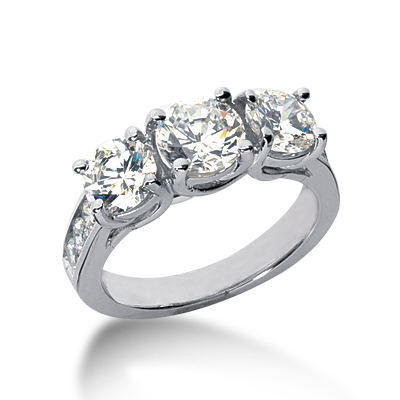 2.8 ct tw Trellis Moissanite Ring with Side Accents