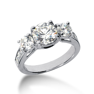 3.3 ct tw Trellis Moissanite Ring with Side Accents
