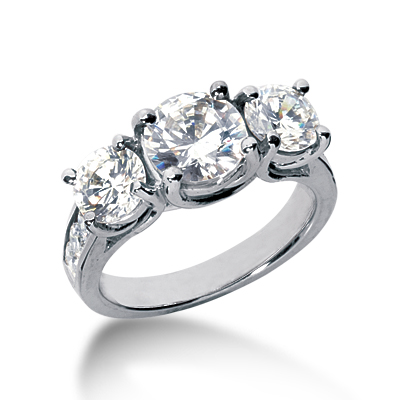 3.8 ct tw Trellis Moissanite Ring with Side Accents
