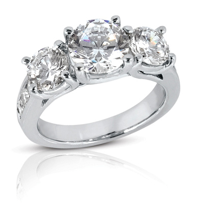 4.25 ct tw Trellis Moissanite Ring with Side Accents
