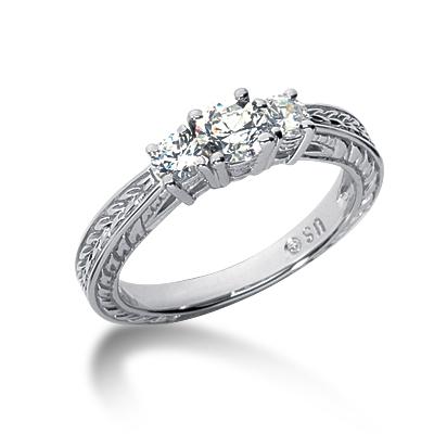 0.60 ct tw Antique 3-Stone Moissanite Ring