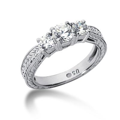 1 ct tw Antique 3-Stone Moissanite Ring