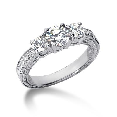 1.25 ct tw Antique 3-Stone Moissanite Ring