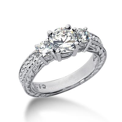 1.5 ct tw Antique 3-Stone Moissanite Ring