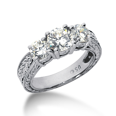 2.0 ct tw Antique 3-Stone Moissanite Ring