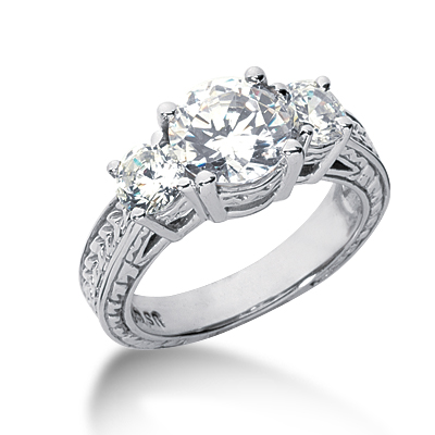 3.0 ct tw Antique 3-Stone Moissanite Ring