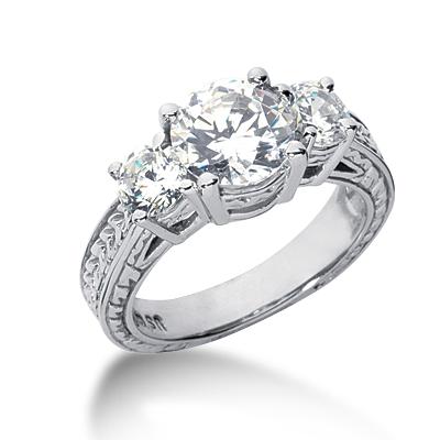 3.0 ct tw Antique 3-Stone Moissanite Ring