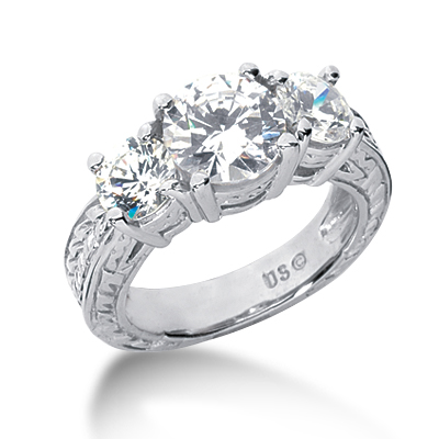3.5 ct tw Antique 3-Stone Moissanite Ring