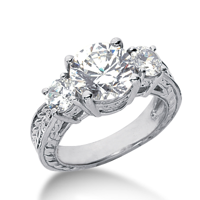 4.0 ct tw Antique 3-Stone Moissanite Ring