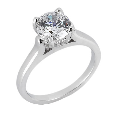 2 1/2 ct Antique Tulip Moissanite Solitaire Ring