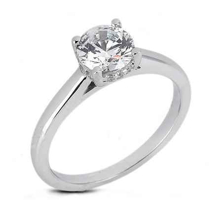 3/4 ct Moissanite Engagement Ring with Crest Accents