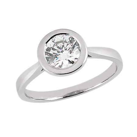 3/4 ct Bezel Set Round Moissanite Solitaire Ring